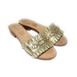 KATE SPADE Gold Metallic Slides Sandals Size 10 M